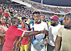 PHOTOS: Chelsea's UEFA Champions League winning star Hudson Odoi supports his father's former club Hearts of Oak in Ghana Premier League clash with Olympics