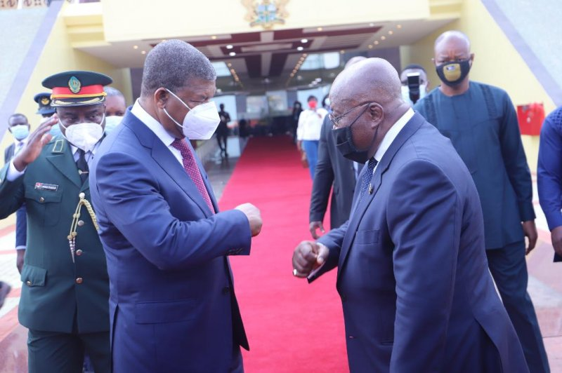 """Angola's Prez describes visit as """"mission accomplished"""" as he bids President Akufo-Addo farewell"""