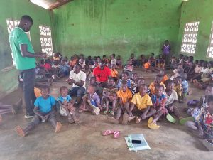 Pupils at St Nicholas Primary at Laakpale in Tatale-Sanguli District cry for help