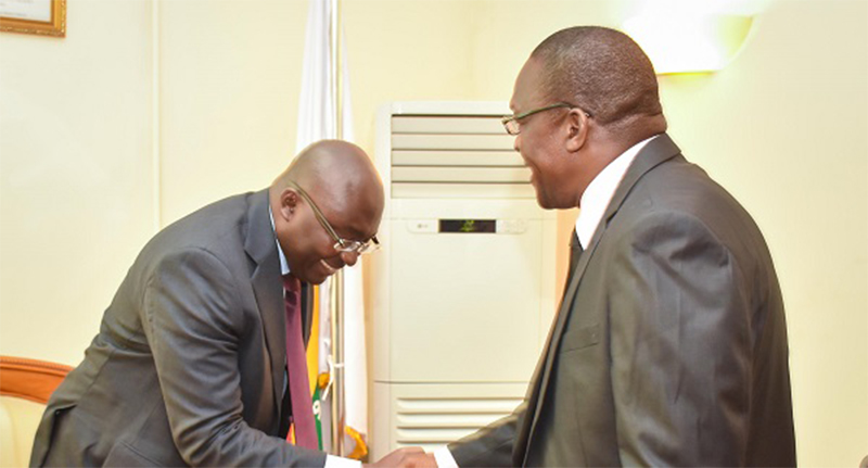 Speaker of Parliament, Alban Bagbin, consoles Dr. Bawumia over death of his Mother
